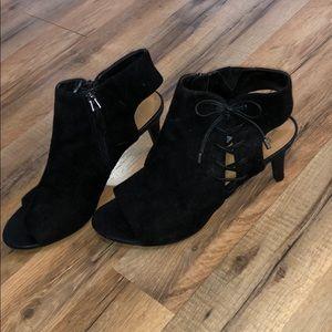 Franco Sarto black suede open toe heels size 11
